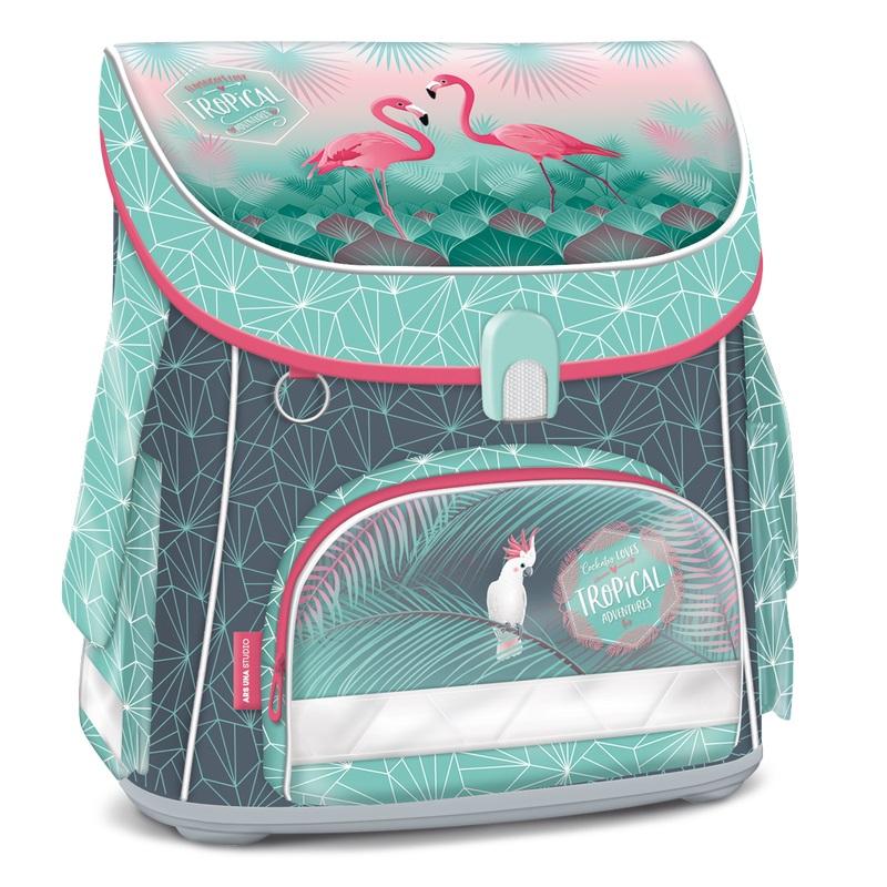 Pink Flamingo kompakt easy mágneszáras iskolatáska